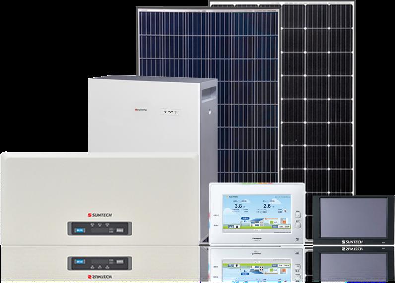 太陽電池モジュール、パワーコンディショナー、蓄電システム、HEMS・カラーモニタ